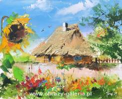 Alfred Anioł - Cottage with sunflower